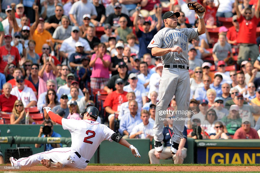 <a gi-track='captionPersonalityLinkClicked' href=/galleries/search?phrase=Jacoby+Ellsbury&family=editorial&specificpeople=4172583 ng-click='$event.stopPropagation()'>Jacoby Ellsbury</a> #2 of the Boston Red Sox slides into third base for a triple as <a gi-track='captionPersonalityLinkClicked' href=/galleries/search?phrase=Brett+Lawrie&family=editorial&specificpeople=5496694 ng-click='$event.stopPropagation()'>Brett Lawrie</a> #13 of the Toronto Blue Jays cuts off the throw during the third inning at Fenway Park on September 14, 2011 in Boston, Massachusetts.