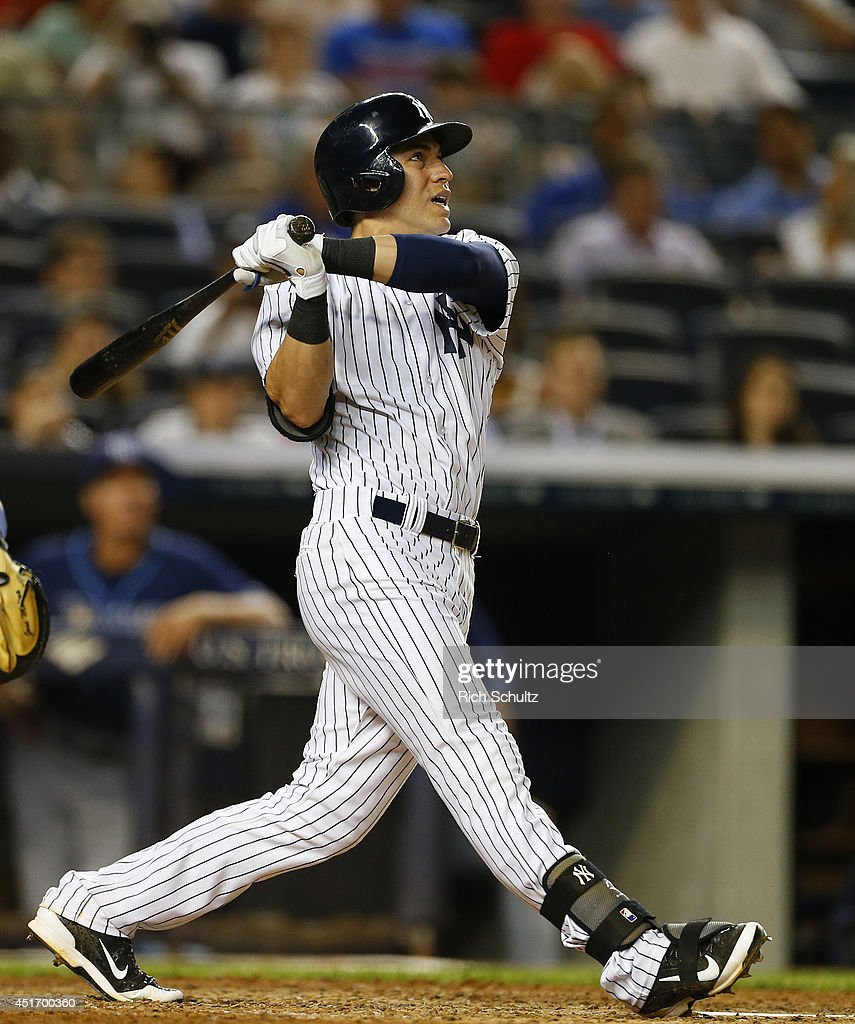 Jacoby Ellsbury #22 of the New York Yankees bats against the Tampa Bay Rays during a MLB baseball game at Yankee Stadium on July 1, 2014 in the Bronx borough of New York City.