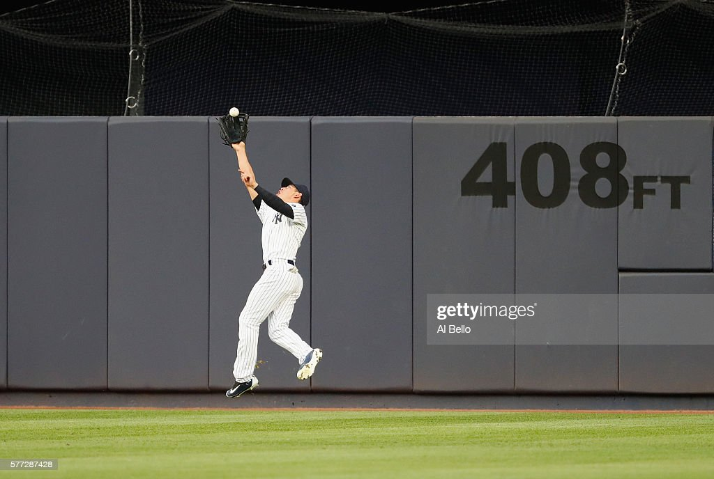Jacoby Ellsbury #22 of the New York Yankees catches a ball hit by Ryan Flaherty #3 of the Baltimore Orioles during their game at Yankee Stadium on July 18, 2016 in New York City.