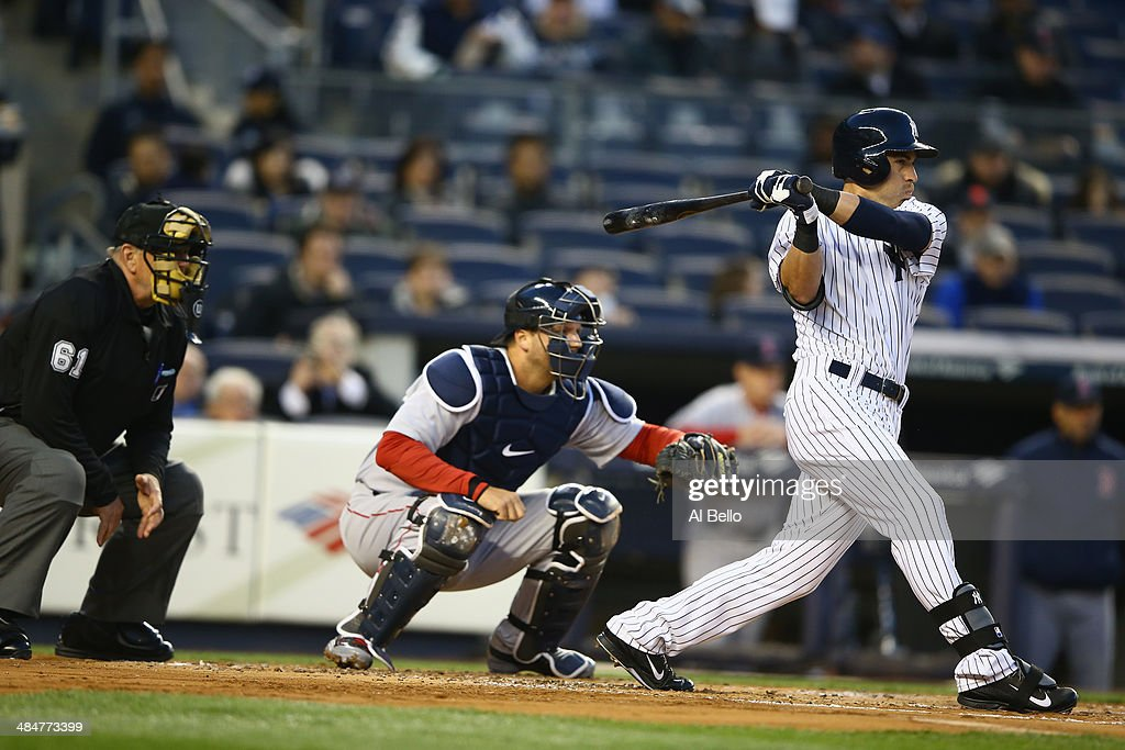 <a gi-track='captionPersonalityLinkClicked' href=/galleries/search?phrase=Jacoby+Ellsbury&family=editorial&specificpeople=4172583 ng-click='$event.stopPropagation()'>Jacoby Ellsbury</a> #22 of the New York Yankees in action against the Boston Red Sox during their game at Yankee Stadium on April 10, 2014 in the Bronx borough of New York City.
