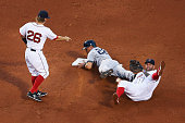 Jacoby Ellsbury of the New York Yankees is called out at second after being caught in a run down between Mike Napoli of the Boston Red Sox and Brock...