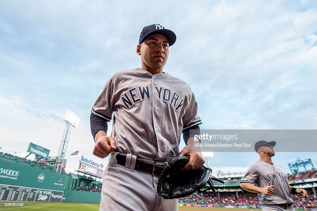 Jacoby Ellsbury #22 of the New York Yankees jogs before a game against the Boston Red Sox on April 29, 2016 at Fenway Park in Boston, Massachusetts .