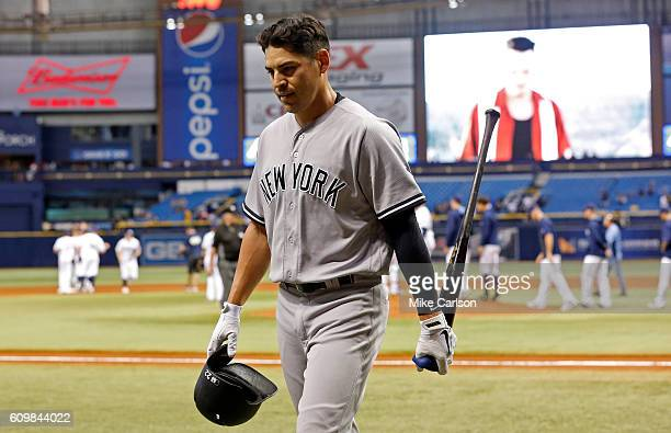 Jacoby Ellsbury of the New York Yankees reacts after lining out to end the game against the Tampa Bay Rays at Tropicana Field on September 22 2016 in...