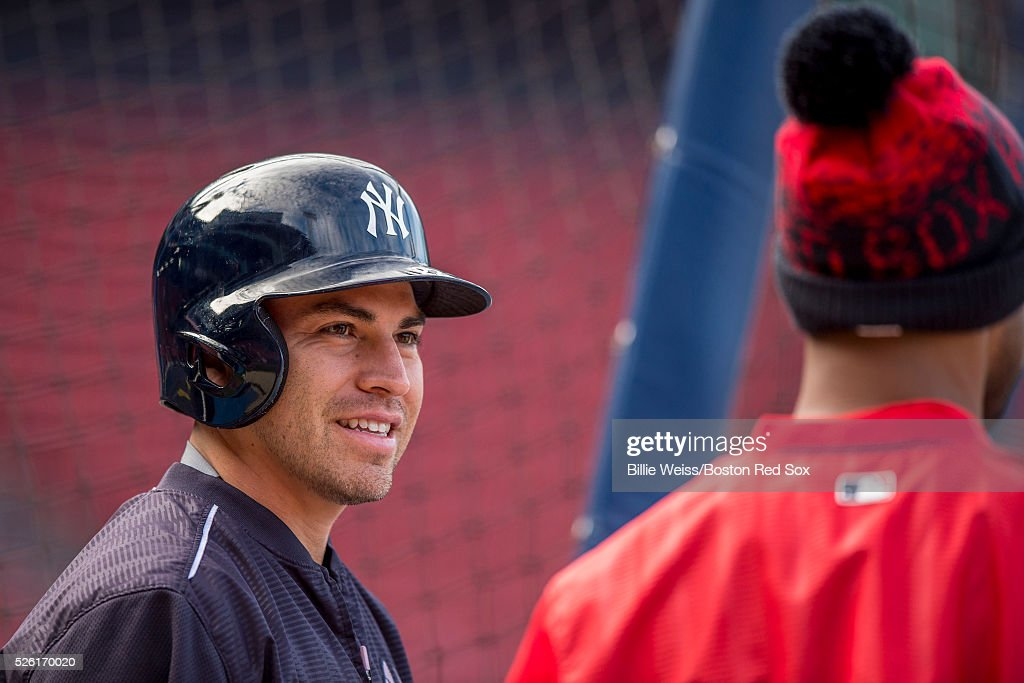 Jacoby Ellsbury #22 of the New York Yankees reacts before a game against the Boston Red Sox on April 29, 2016 at Fenway Park in Boston, Massachusetts .