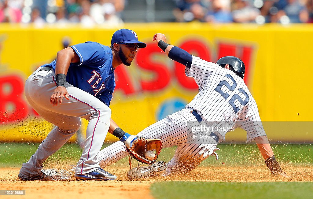 Jacoby Ellsbury of the New York Yankees steals second base in the fifth inning ahead of the tag from Elvis Andrus of the Texas Rangers at Yankee...