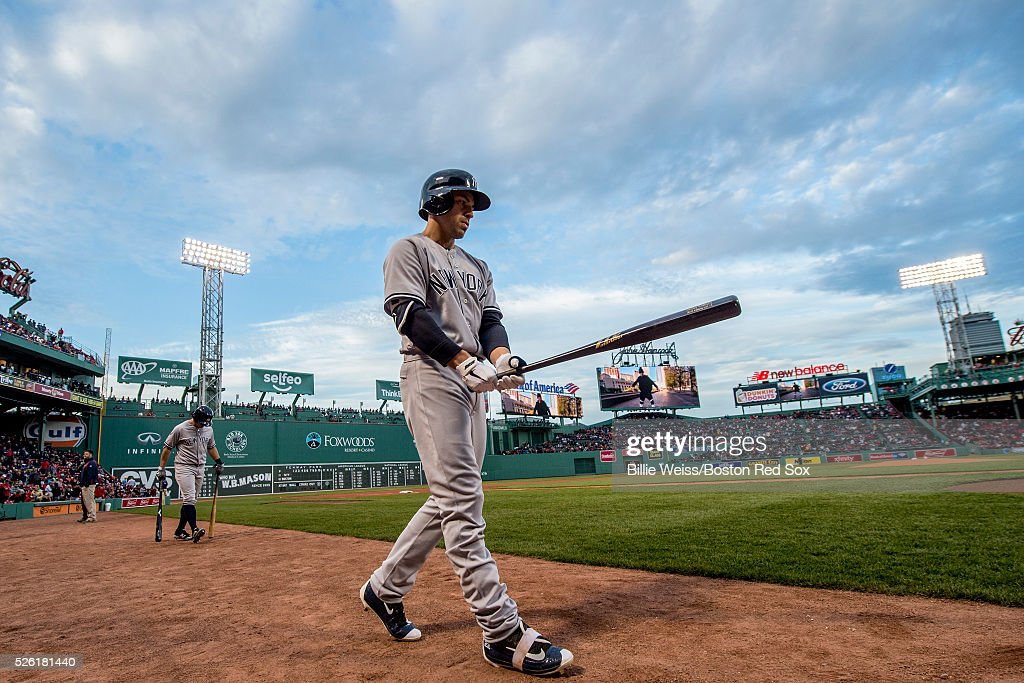 <a gi-track='captionPersonalityLinkClicked' href=/galleries/search?phrase=Jacoby+Ellsbury&family=editorial&specificpeople=4172583 ng-click='$event.stopPropagation()'>Jacoby Ellsbury</a> #22 of the New York Yankees warms up on deck before a game against the Boston Red Sox on April 29, 2016 at Fenway Park in Boston, Massachusetts .