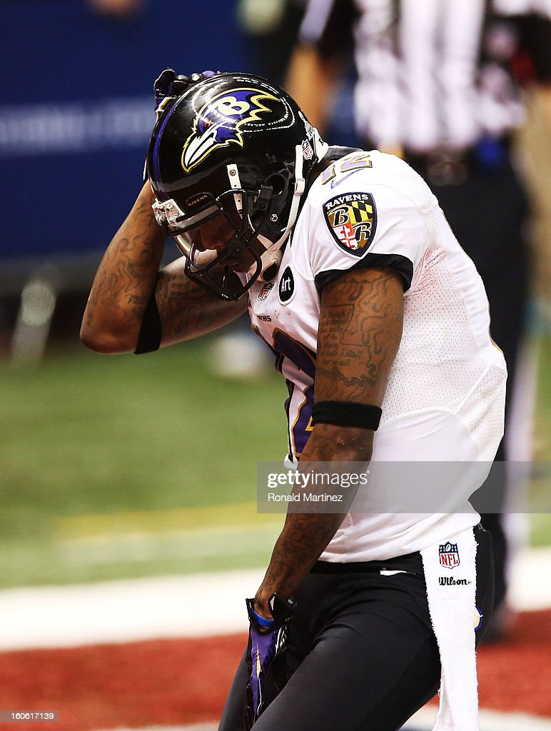 Jacoby Jones #12 of the Baltimore Ravens celebrates after he scored on a 108-yard kick-off return for a touchdown to open the second half against the San Francisco 49ers during Super Bowl XLVII at the Mercedes-Benz Superdome on February 3, 2013 in New Orleans, Louisiana.