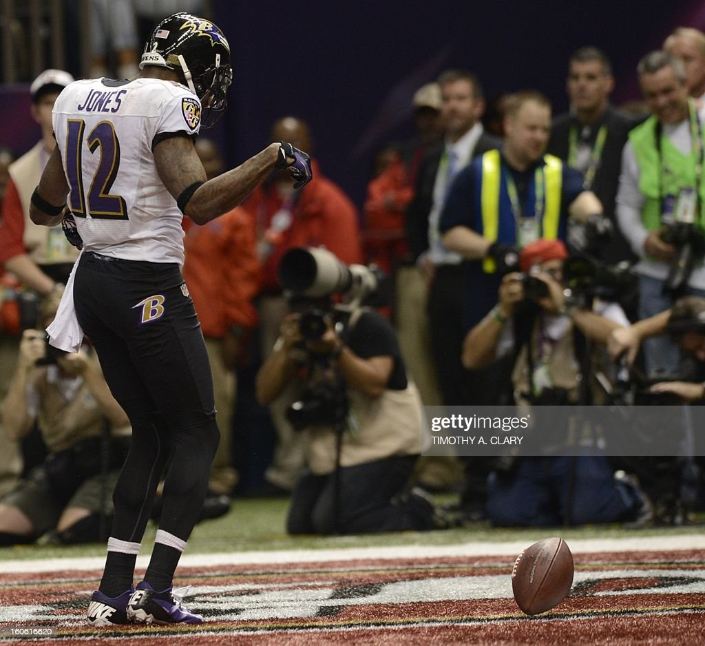 Jacoby Jones of the Baltimore Ravens celebrates after scoring a touchdown in the second quarter against the San Francisco 49ers during Super Bowl XLVII at the Mercedes-Benz Superdome on February 3, 2013 in New Orleans, Louisiana.