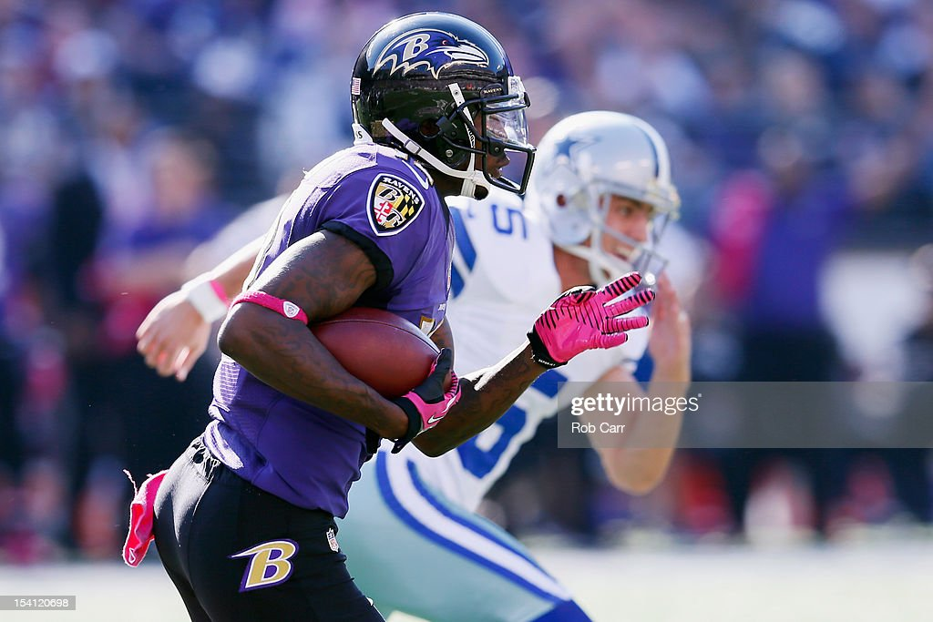 <a gi-track='captionPersonalityLinkClicked' href=/galleries/search?phrase=Jacoby+Jones&family=editorial&specificpeople=4167942 ng-click='$event.stopPropagation()'>Jacoby Jones</a> #12 of the Baltimore Ravens outruns kicker <a gi-track='captionPersonalityLinkClicked' href=/galleries/search?phrase=Dan+Bailey&family=editorial&specificpeople=6235010 ng-click='$event.stopPropagation()'>Dan Bailey</a> #5 of the Dallas Cowboys for a touchdown on a kickoff during the third quarter at M&T Bank Stadium on October 14, 2012 in Baltimore, Maryland.