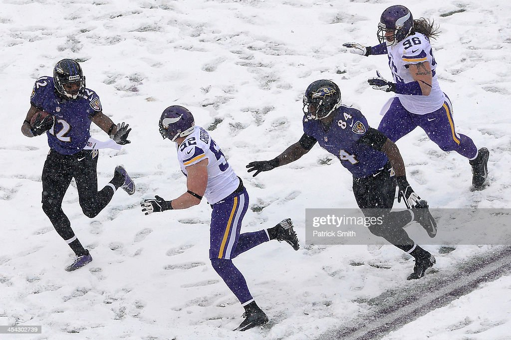 <a gi-track='captionPersonalityLinkClicked' href=/galleries/search?phrase=Jacoby+Jones&family=editorial&specificpeople=4167942 ng-click='$event.stopPropagation()'>Jacoby Jones</a> #12 of the Baltimore Ravens returns a punt in the second quarter against the Minnesota Vikings at M&T Bank Stadium on December 8, 2013 in Baltimore, Maryland.