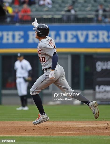 JaCoby Jones of the Detroit Tigers celebrates while running the bases after hitting a threerun home run in the 2nd inning against the Chicago White...