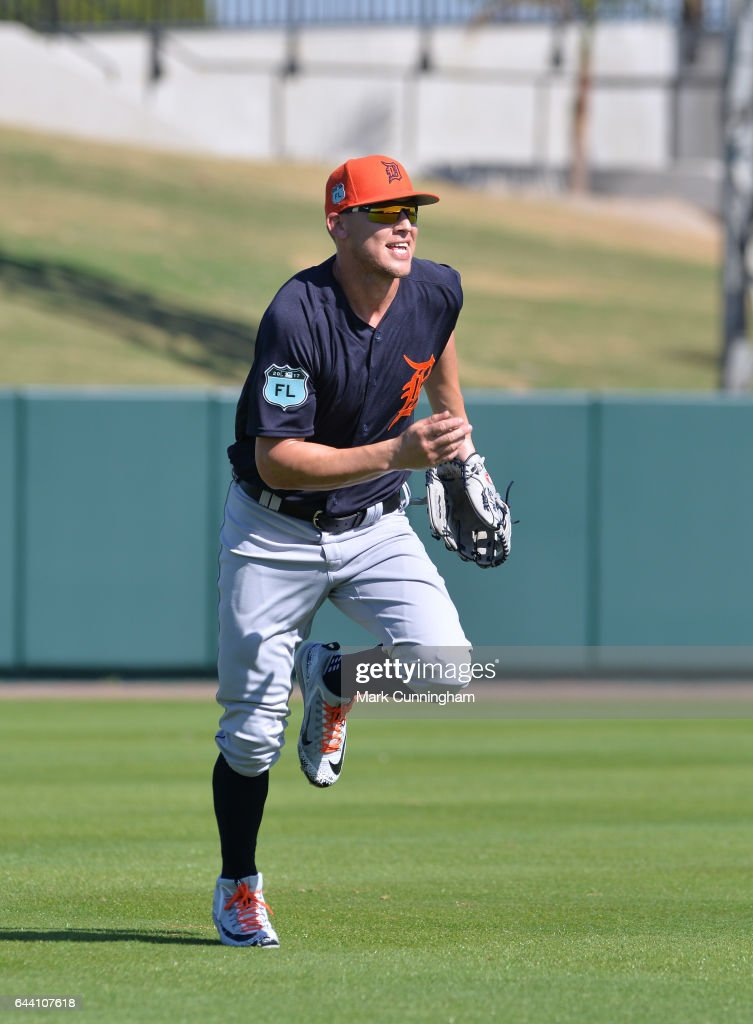 JaCoby Jones #40 of the Detroit Tigers runs across the field during Spring Training workouts at the TigerTown facility on February 20, 2017 in Lakeland, Florida.