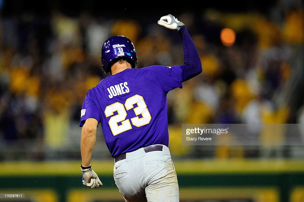 JaCoby Jones #23 of the LSU Tigers celebrates a home run during Game 2 of the NCAA baseball Super Regionals against the Oklahoma Sooners at Alex Box Stadium on June 8, 2013 in Baton Rouge, Louisiana.