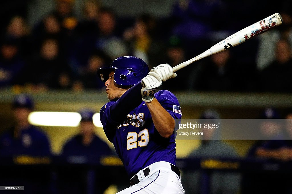 JaCoby Jones #23 of the LSU Tigers takes a swing against the Florida Gators during a game at Alex Box Stadium on May 3, 2013 in Baton Rouge, Louisiana.