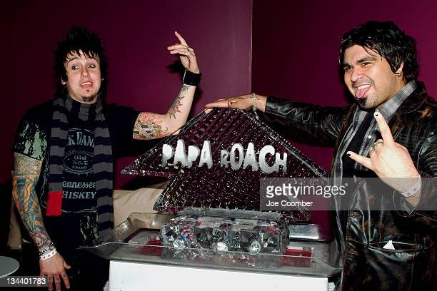 Jacoby Shaddix and Dave Buckner of Papa Roach during Dragonfly Clothing Launch Party Hosted by Papa Roach at Pure in Las Vegas Nevada United States