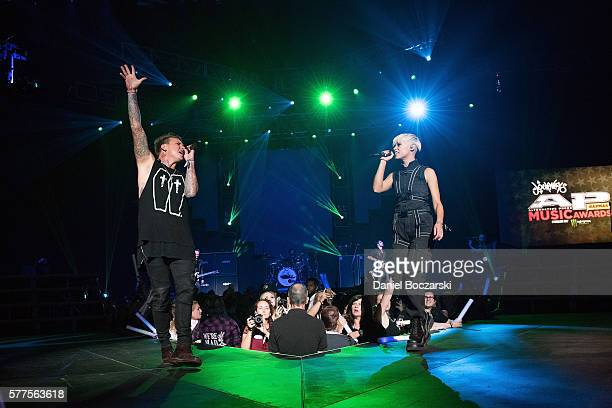 Jacoby Shaddix of Papa Roach and Jenna McDougall of Tonight Alive perform during the Alternative Press Music Awards 2016 at Jerome Schottenstein...