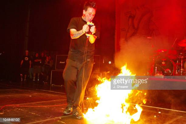 Jacoby Shaddix of Papa Roach at the CD release concert for 'LoveHateTragedy' Free tickets were given to fans who bought advance copies of the new...