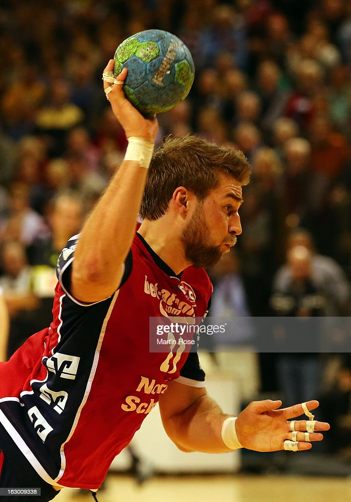 Jacon Heinl of Flensburg in action during the DKB Handball Bundesliga match between SG Flensburg-Handewitt and TV Grosswallstadt at Flens Arena on March 3, 2013 in Flensburg, Germany.
