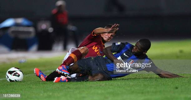 Jacopo Ferri of AS Roma competes for the ball with Isaac Donkor of FC Internazionale Milano during the Supercoppa Primavera match between FC...