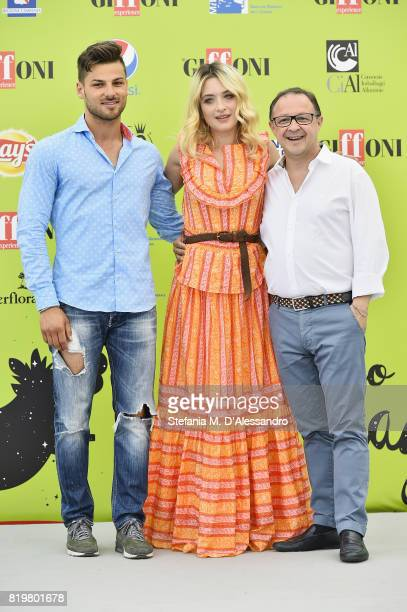 Jacopo Gubitosi Carolina Crescentini and Piero Rinaldi attend Giffoni Film Festival 2017 Day 7 Photocall on July 20 2017 in Giffoni Valle Piana Italy