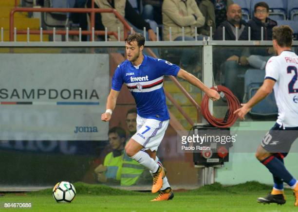 Jacopo Sala in action during the Serie A match between UC Sampdoria and FC Crotone at Stadio Luigi Ferraris on October 21 2017 in Genoa Italy