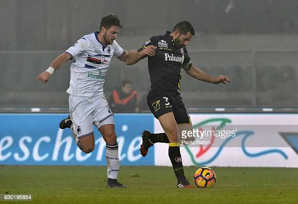 Jacopo Sala Sampdoria and Sergio Pellissier Chidevo during the Serie A match between AC Chievo Verona and UC Sampdoria at Stadio Marc'Antonio...