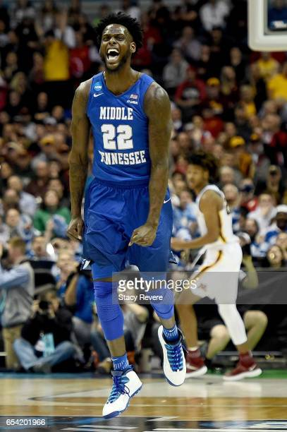 JaCorey Williams of the Middle Tennessee Blue Raiders reacts in the second half against the Minnesota Golden Gophers during the first round of the...