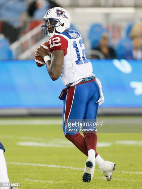 Jacory Harris of the Montreal Alouettes looks to throw a pass against the Toronto Argonauts during a CFL preseason game at BMO field on June 8 2017...