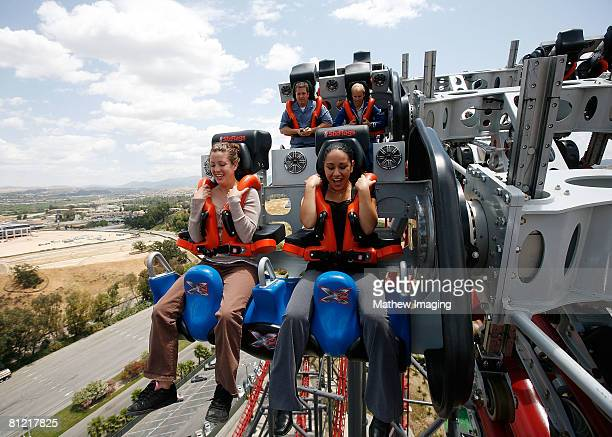 Jacque Marquez and Sarah Martinez were one of the first riders to experience X2 during X2 Media Day At Six Flags Magic Mountain on May 22 2008 in...