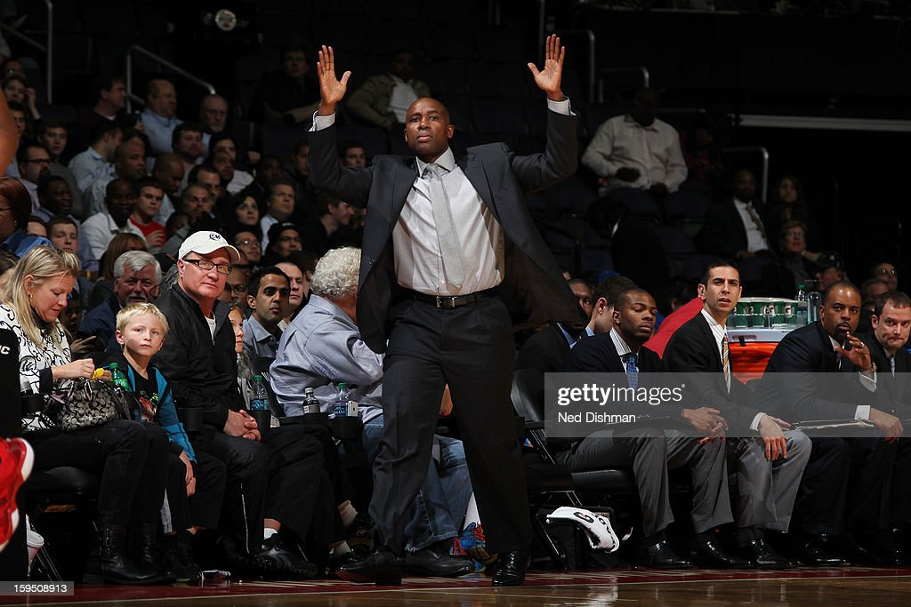 <a gi-track='captionPersonalityLinkClicked' href=/galleries/search?phrase=Jacque+Vaughn&family=editorial&specificpeople=201747 ng-click='$event.stopPropagation()'>Jacque Vaughn</a> Head Coach of the Orlando Magic reacts during the game against the Washington Wizards at the Verizon Center on January 14, 2013 in Washington, DC.
