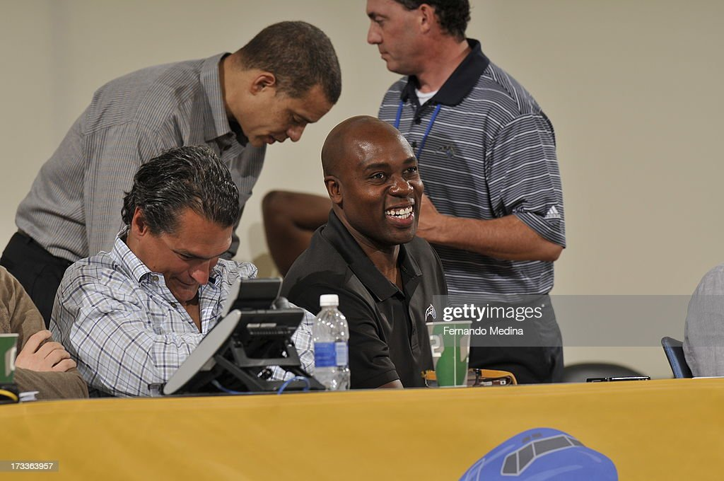 <a gi-track='captionPersonalityLinkClicked' href=/galleries/search?phrase=Jacque+Vaughn&family=editorial&specificpeople=201747 ng-click='$event.stopPropagation()'>Jacque Vaughn</a>, Head Coach of the Orlando Magic smiles during the 2013 Southwest Airlines Orlando Pro Summer League on July 12, 2013 at Amway Center in Orlando, Florida.