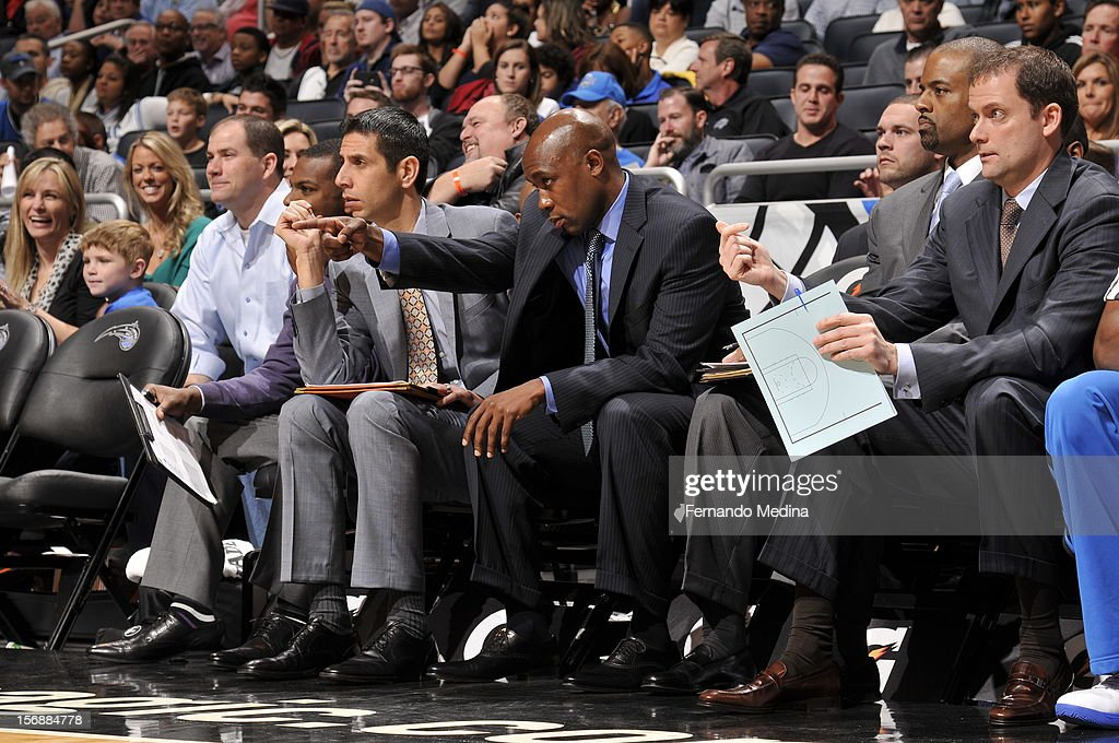 Jacque Vaughn of the Orlando Magic calls out a play during the game against the Cleveland Cavaliers on November 23, 2012 at Amway Center in Orlando, Florida.