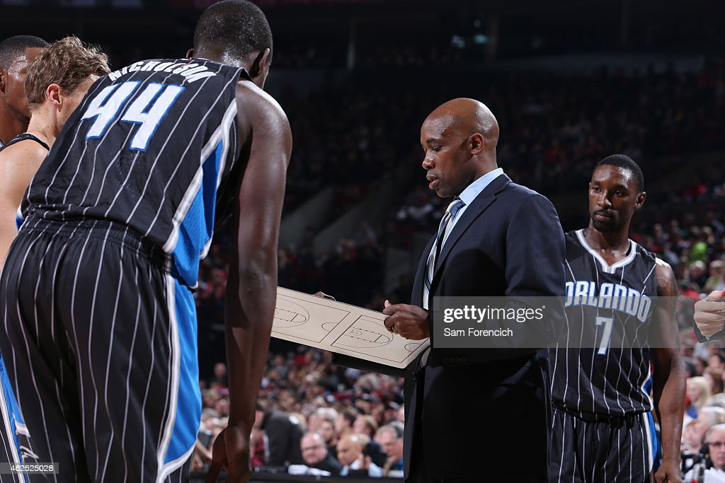 <a gi-track='captionPersonalityLinkClicked' href=/galleries/search?phrase=Jacque+Vaughn&family=editorial&specificpeople=201747 ng-click='$event.stopPropagation()'>Jacque Vaughn</a> of the Orlando Magic during the game against the Portland Trail Blazers on January 10, 2015 at the Moda Center Arena in Portland, Oregon.