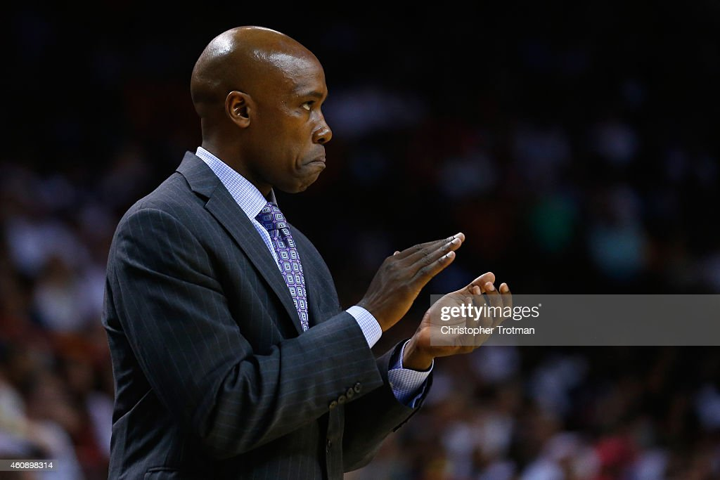 <a gi-track='captionPersonalityLinkClicked' href=/galleries/search?phrase=Jacque+Vaughn&family=editorial&specificpeople=201747 ng-click='$event.stopPropagation()'>Jacque Vaughn</a> of the Orlando Magic reacts from the bench against the Miami Heat at American Airlines Arena on December 29, 2014 in Miami, Florida.