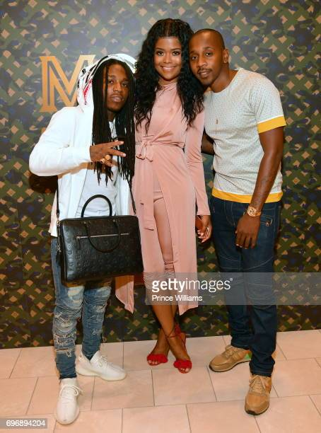 Jacquees Karen Civil and Ruggs attend MCM Spring Collection and Raytroniks PopUp Shop at Neiman Marcus Atlanta on June 16 2017 in Atlanta Georgia