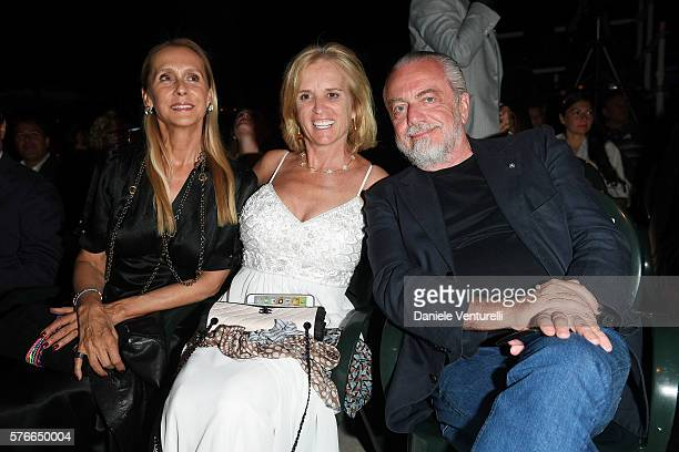 Jacqueline Baudit Kerry Kennedy and Aurelio De Laurentiis attend the 2016 Ischia Global Film Music Fest on July 16 2016 in Ischia Italy