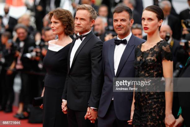 Jacqueline Bisset Jeremie Renier director Francois Ozon and Marine Vacth attend the 'Amant Double ' screening during the 70th annual Cannes Film...