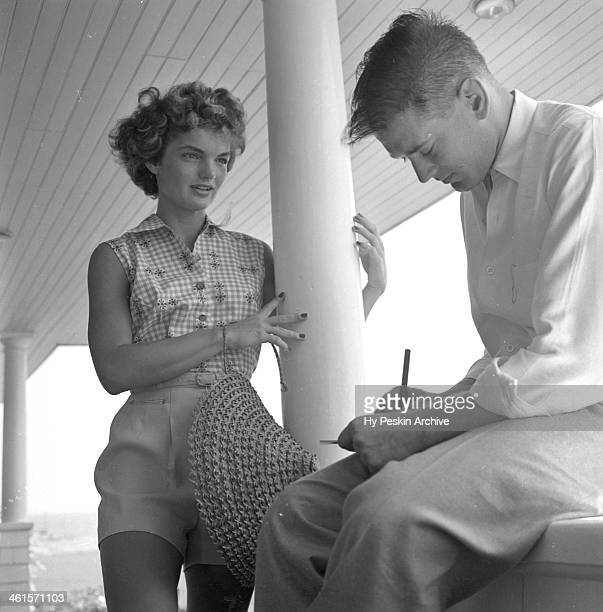 Jacqueline Bouvier is interviewed for a LIFE Magazine story while on vacation at the Kennedy compound in June 1953 in Hyannis Port Massachusetts