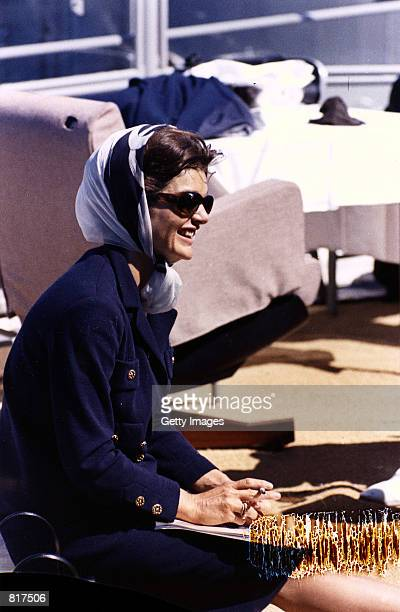 Jacqueline Bouvier Kennedy watches the first America's Cup Race September 15 1962 in Newport RI