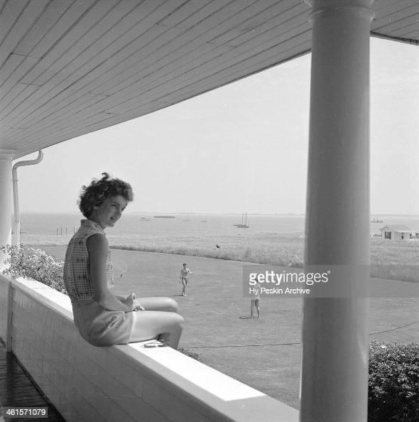 Jacqueline Bouvier on vacation at the Kennedy compound in June 1953 in Hyannis Port Massachusetts