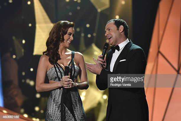 Jacqueline Bracamontes and Alan Tacher onstage at the inaugural Premios Univision Deportes backstage at Univision Studios on December 18 2014 in...