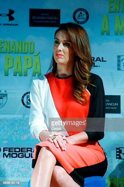 Jacqueline Bracamontes looks on during the presentation of the film 'Entrenando a mi papá' on September 21 2015 in Mexico City Mexico