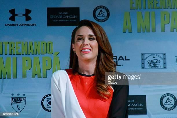Jacqueline Bracamontes smiles during the presentation of the film 'Entrenando a mi papá' on September 21 2015 in Mexico City Mexico