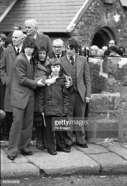 Jacqueline Brockman wife of the Penlee lifeboat's assistant mechanic Nigel Brockman at his funeral on Christmas Eve at Paul Parish Church St...