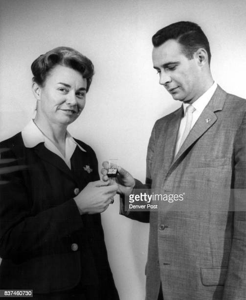 Jacqueline Emery Saturday observed her fifth anniversary with Scandinavian Airlines and was presented with a diamondstudded pin by George Catchpole...