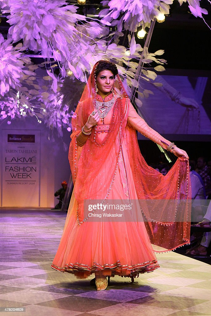 Jacqueline Fernandez walks the runway wearing designs by Tarun Tahiliani at day 2 of Lakme Fashion Week Summer/Resort 2014 at the Grand Hyatt on March 12, 2014 in Mumbai, India.