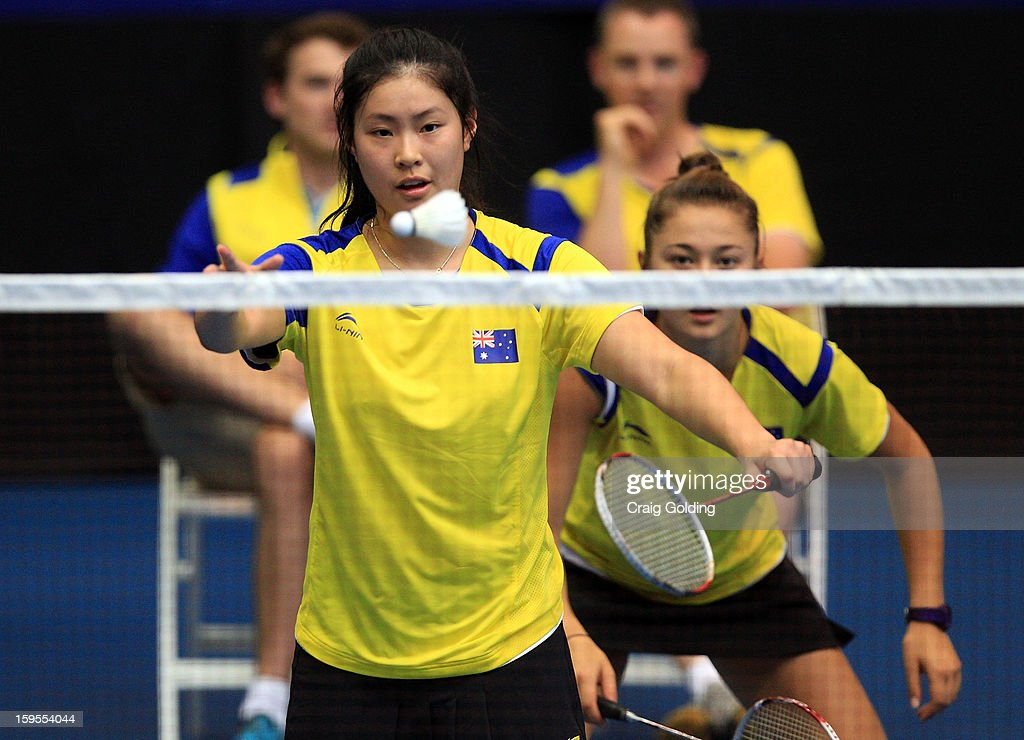 Jacqueline Guan and Gronya Somerville of Australia during the womens doubles badminton teams event on day one of the 2013 Australian Youth Olympic Festival in the Sports Halls at Sydney Olympic Park Sports Centre on January 16, 2013 in Sydney, Australia.