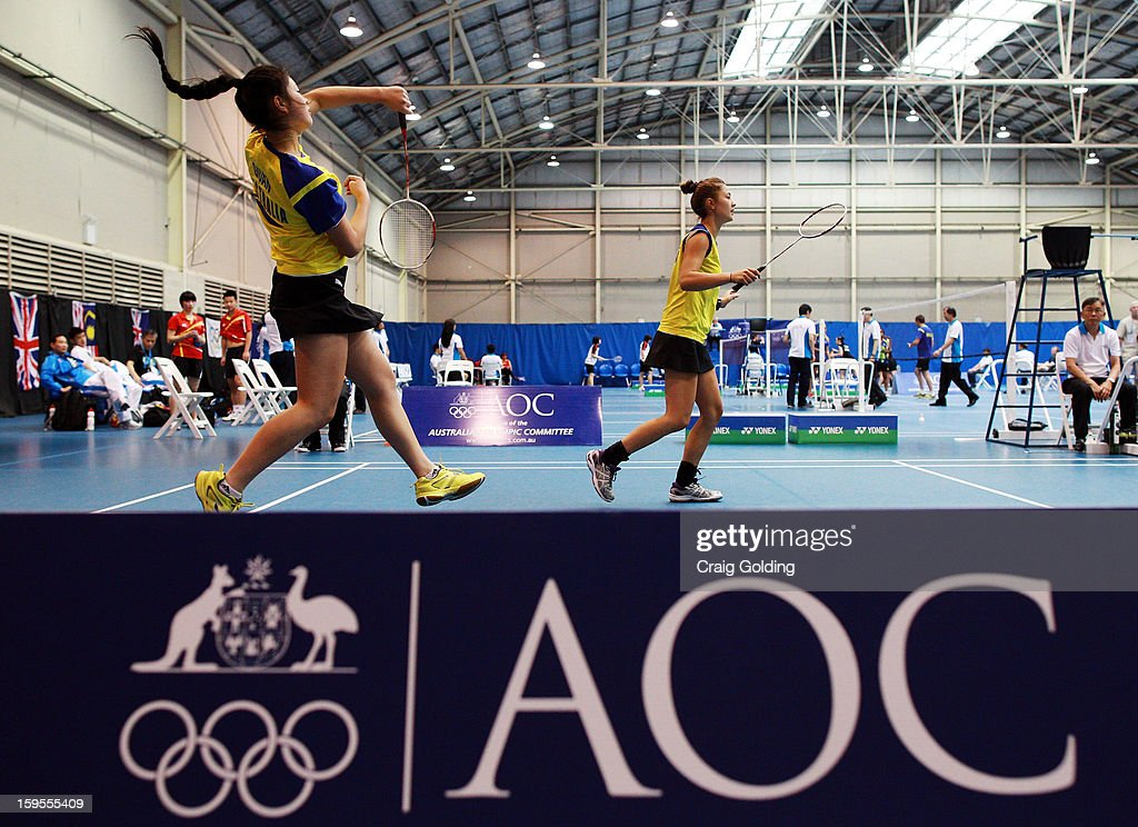 Jacqueline Guan and Gronya Somerville of Australia during womens doubles badminton teams event on day one of the 2013 Australian Youth Olympic Festival in the Sports Halls at Sydney Olympic Park Sports Centre on January 16, 2013 in Sydney, Australia.
