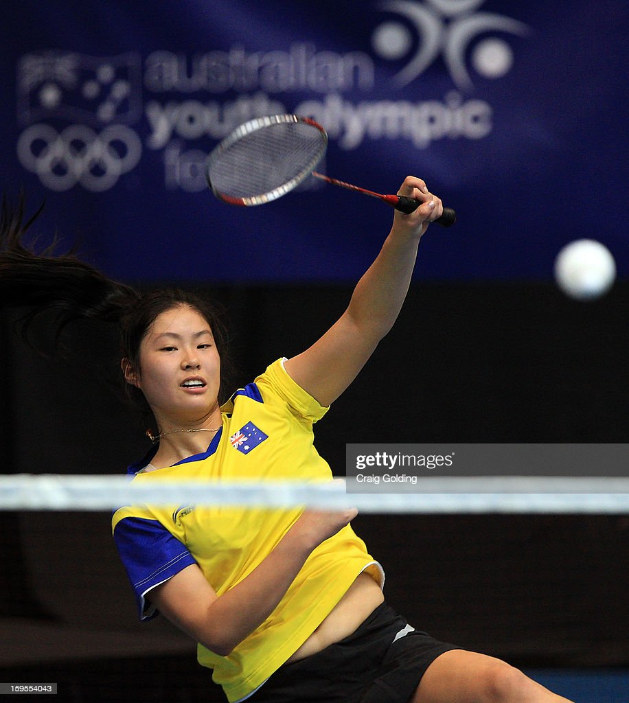 Jacqueline Guan of Australia during the womens doubles badminton teams event on day one of the 2013 Australian Youth Olympic Festival in the Sports Halls at Sydney Olympic Park Sports Centre on January 16, 2013 in Sydney, Australia.