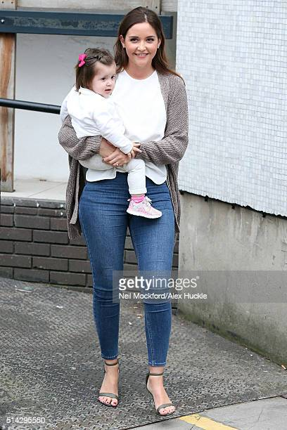 Jacqueline Jossa and her daughter Ella Osborne seen at the ITV Studios after appearing on Loose Women on March 8 2016 in London England